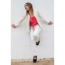 Pantalon Mujer Gabardina Blanco. Bordado A Mano. Diseño