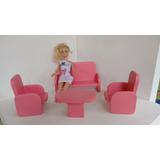 Moveis Para Barbie - Kit 2 = 1 Sofa + 2 Poltronas + 1 Mesa