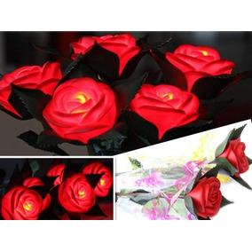 6 Rosas Luminosas Para Fiestas Y Eventos Rosa Led Regalo