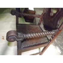 Cadeira Antiga Em Madeira Tipo Manuelina #2544
