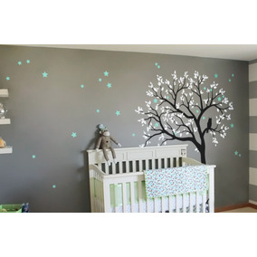 vinilo decorativo rbol buho hojas infantil sala recmara