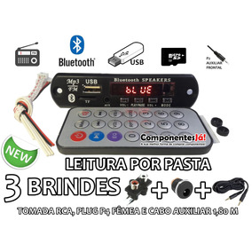 Placa Leitor De Usb Fm / Mp3 / Bluetooth Brindes / Cabo Aux