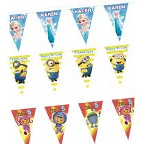 Banderines Personalizados Adornos Para Fiestas Tira 10 M