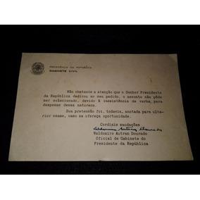 Documento Oficial De Gabinete De Jk Waldomiro Autran Dourado