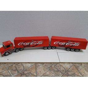 Caminhão De Puxar De Madeira Bitrem Scania Brinquedo Caminhã
