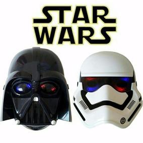 2 Máscaras Star Wars Com Luz Led Darth Vader E Stormtrooper