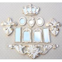 Kit Border E Coroa + 7 Mini Espelhos Ouro Provençal
