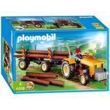 Playmobil 4209 Trator E Carreta Para Transporte De Madeira