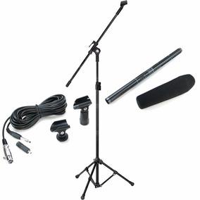 Kit Microfone Direcional Shotgun Boom Csr Ht81 + Pedestal