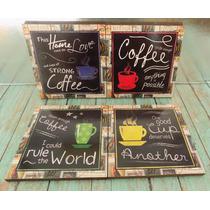 Cuadros Decorativos Tazas De Cafe Vintage (4 Pz) Vinilo