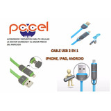 Cable Usb 2 En 1 Para Iphone, Android, Ipad Colores