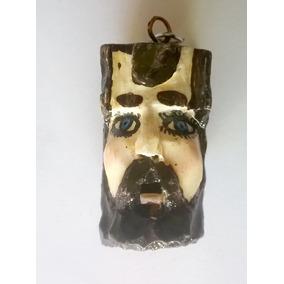 Llavero Artesanal. Mascara De Huehue . Tallado A Mano.