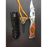 Kit Sobrevivência: Canivete Automático+lanterna+perdeneira