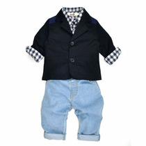 Blazer Com Calça Jeans Infantil Menino