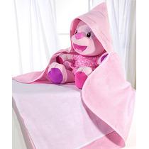 Toalha Banho Bebê Baby Love Rosa C/fralda P/bordar C/capuz