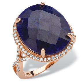 Anillo Zafiro 15.88 Ct Total Oro Rosa Sobre Ss Talla 6 Azul