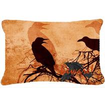 Cuidado Con El Negro Cuervos De Halloween Tela De Lona Almoh