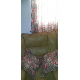 Cortina De Tela Estampada Flores 18ocm X 150cm Con Almohadon
