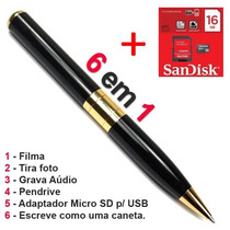 Caneta Espião 6 Em1 Brinde 16g Grava Video Audio Foto Camera