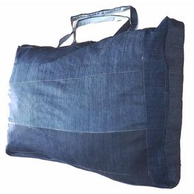 Sacolão Em Retalhos Jeans Grosso 120 Litros 72x52x32 Ref:495