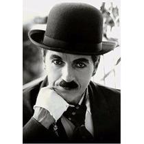 Chapéu Coco Preto Bowler Chaplin Revestido Lã Retro Vintage