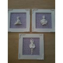 Quadros Decoração Lilas Para Quarto De Bebê-trio Bailarinas