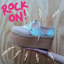 Zapatos Mujer Mocasin Acordonados Cuero Plataforma Paradisea
