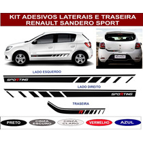 Kit Adesivo Faixa Lateral Traseira Novo Sandero Logan Sport