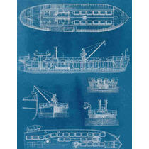 Lienzo Tela Diagrama Barcaza Vapor Año 1880 65 X 50 Cm