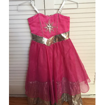 Vestido Largo Niña Barbie Moda En París T6 Rosa Fucsia Plata