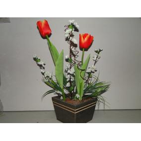 Tulipa Arranjo Artificial Cachepot 30x53cm