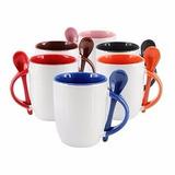 Pocillo Mug Ceramica Color Interno Con Cuchara 11 Onzas
