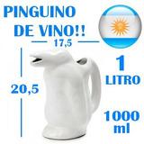Jarra Vino Pinguino Blanco Ceramica Tinto Blanco Rosado