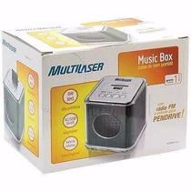 Caixa De Som Portátil 6w Rms Music Box Fm/usb Preto - Sp102