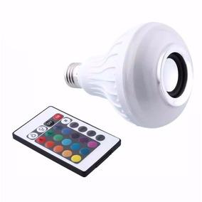 Kit 5 Lampada Luz Led Rgb Caixa De Som Bluetooth + Controle