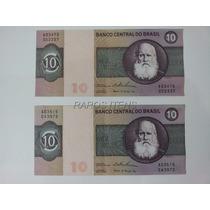 2 Cédulas Notas 10 Dez Cruzeiros 1974 Soberbas