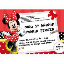 40 Convites Personalizado Minnie Vermelha 7x10 Promoção