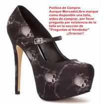 Zapatillas Andrea Pumps Negras Con Calaveras 14.5cm 239-6507