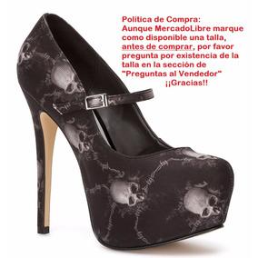 Zapatillas Andrea Pumps Negras Con Calaveras 14.5cm 14863