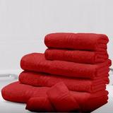 Set 7 Toallas Color Rojo 100% Algodón