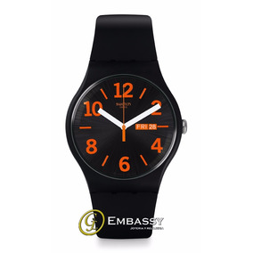 Reloj Swatch Suob723 Negro Y Naranja. Envió Gratis