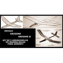 Kit De Tres Aeromodelos En Madera Balsa Para Armar