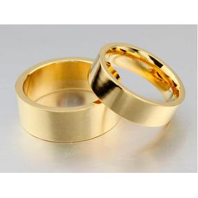 Alianças Banhada Ouro Casamento Noivado Anatômica Dourada