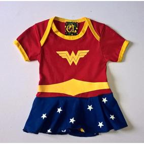 Body Saia Fantasia Mulher Maravilha Infantil Super Heróis