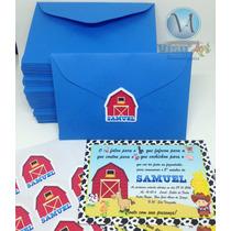 50 Convites Personalizados Infantil Tema Fazendinha C/ Envel