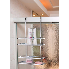 Suporte Duplo Cromado Box Porta Sabonete Shampoo Toalheiro