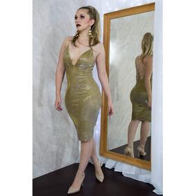Vestido De Fiesta Para Mujer En Dorado Metálico