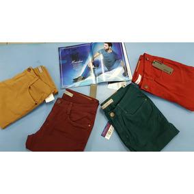 Calças Jeans Skinny Masculina Bege, Vinho, Verde E Vermelho