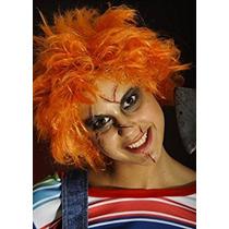 Disfraz Adulto Halloween Naranja Chucky Peluca