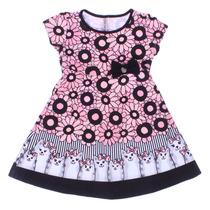 Vestido Infantil Floral Gatinho Turma Da Malha - Domanikids